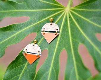 Coral earrings, geometric earrings, geometric orange earrings, orange jewelry, geometric orange jewelry, big earrings, set jewelry,