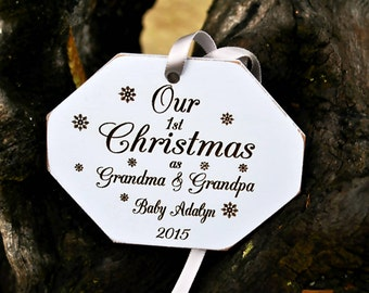 Grandparents First Christmas Ornament - New Grandparent Ornament  - Custom Grandparent Ornament - Our First Christmas as Grandma & Grandpa