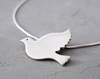 Christian Gifts For Women - Messianic Jewelry - Christian Jewelry - Holy Spirit Necklace - Sterling Silver Dove Necklace - Bird Necklace