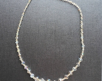"Vintage Beautiful Sparkly and Fun! Clear Aurora Borealis bead necklace 24"" long"