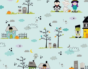 Halloween Magic Main Blue by Riley Blake Designs - Witch Haunted House - Quilting Cotton Fabric - fat quarter