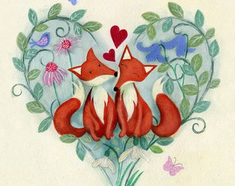 Foxy love - Unframed limited edition print
