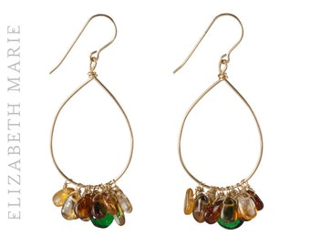 Emerald and Hessonite Hand-Shaped Hoop Earrings on 14K Gold Filled French Earwire