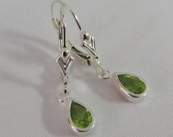 Sterling Silver Peridot Earrings, Leverback Earrings, August Birthstone Gift, Natural Peridot Jewelry, Drop Earrings, Green Gemstone