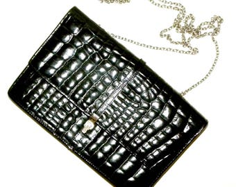 Vintage 1970s 70s Black Alligator Leather Purse w Chain Strap / Luxury Luxe Made France / shoulder bag / small