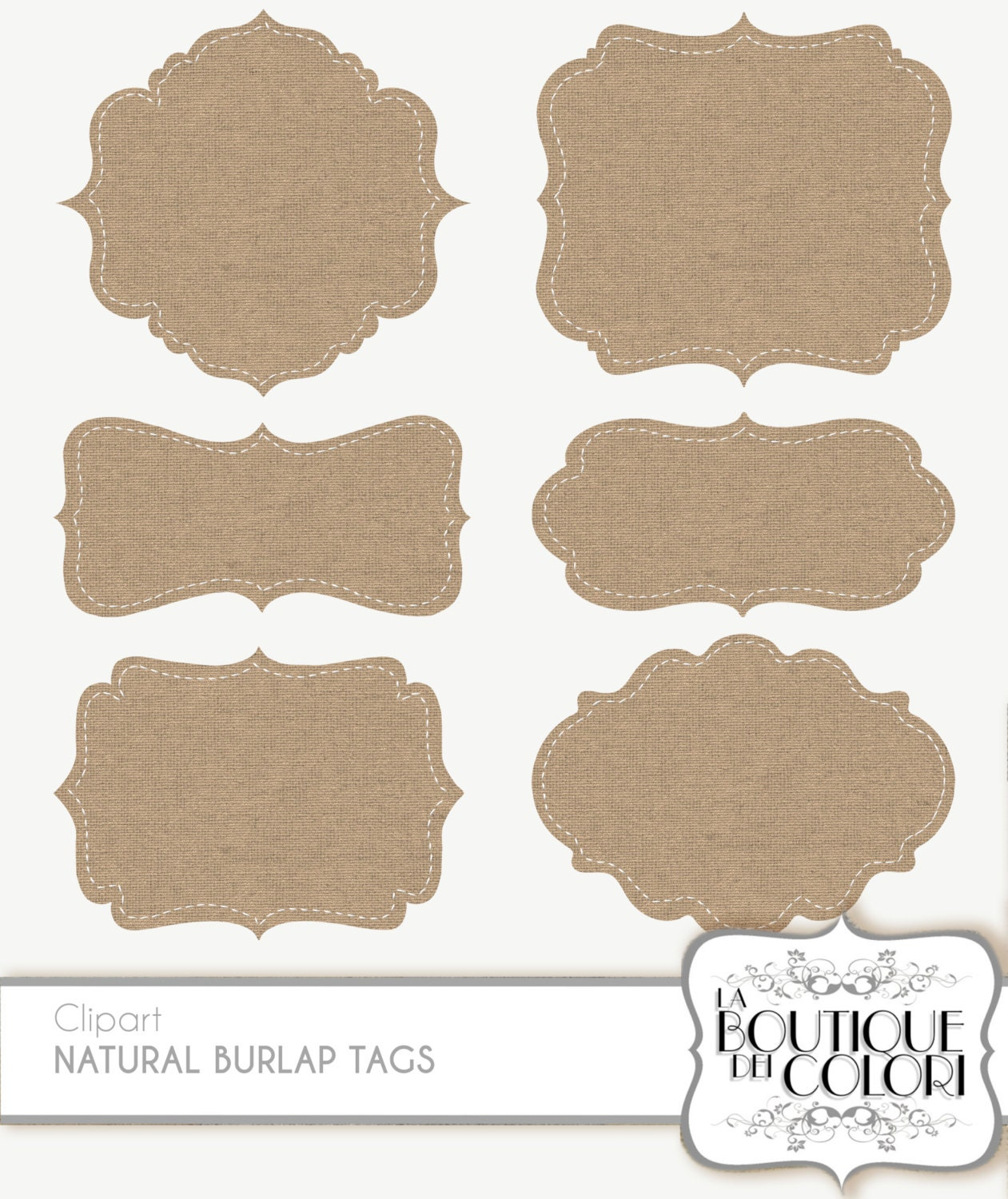 Clip Art Burlap Frames Labels tags Digital Frames Digital