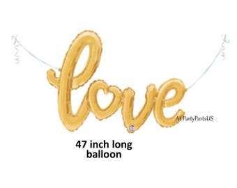 gold script love balloon, bridal shower decorations, wedding decor, engagement party, anniversary, photo prop, photography background, heart