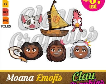 Moana Emojis SVG patterns and clipart, PNG images and editable files, cute collection for papercraft projects, stickers, party supplies