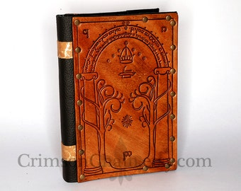 Leather Gates of Moria sketchbook cover - you choose color by Crimson Chain Leatherworks