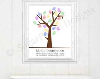 Teacher Gift, Teacher Fingerprint Tree, Classroom Fingerprint Tree, Teacher's Tree, Teacher Gift, end of year gift, class gift,