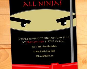 Ninja Birthday Invitations, Karate Kicks Birthday Card, Modern Birthday Party Invite, Custom Birthday Invitation