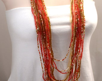 Red Necklace, Dramatic Multi Strand Necklace, 16 Strand Statement Red Necklace, White Necklace, Amber Bead Necklace, Long Necklace (N310)