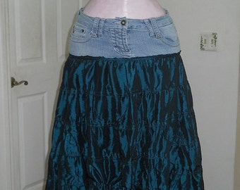 Fée Celtique fairy jean skirt teal emerald silk tulle ruffled shimmery medieval Celtic bohemian blue green