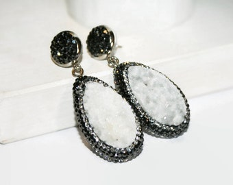 Druzy Earrings, Pave Crystal Earring, Drop Earrings, Dangle Earrings, Gift for Her, Bridesmaid Earrings, Chandelier Earrings, Bridal Jewelry