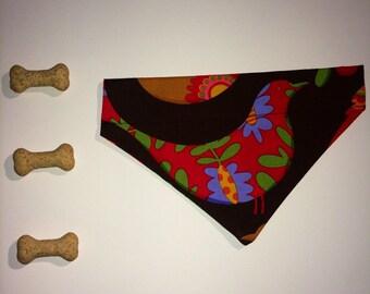 Handmade pet bandana retro paychedelic birds slip on summer