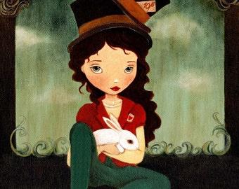 The Mad Hatter Print 8x10 - Alice In Wonderland Art, Girl Art Print, Nursery Art, Children's Art, Girls Room Art, Children's Decor, Poster
