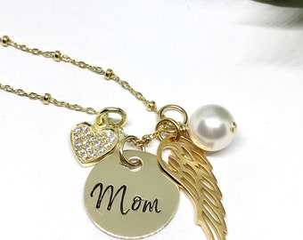 Gold Initial Jewelry - Gold Angel Wing Necklace - Personalized Gold Filled Jewelry - Personalized - Memorial Gifts - Sympathy Gift Ideas