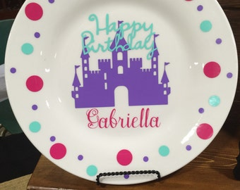 Happy Birthday Castle and Polka Dot Personalized Birthday Plate