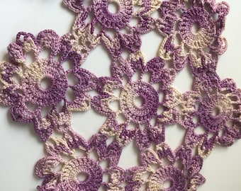Purple crochet doily, handmade crochet decorative doily