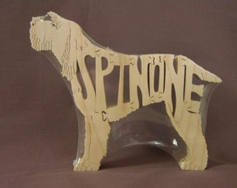Italian Spinone Dog Puzzle Wooden Toy Hand Cut with Scroll Saw