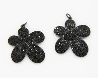 Black CZ Micro Pave 30mm Flower Pendant With Jupm Ring