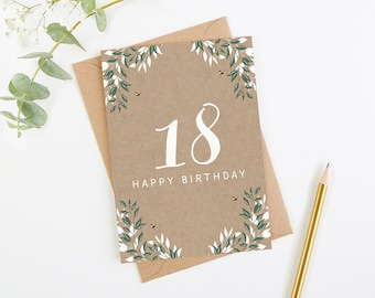 18th Birthday Card Botanical Kraft