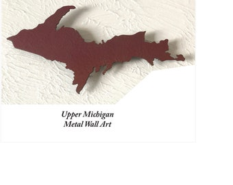 """Upper Michigan Metal Wall Art - Choose 24"""" or 36"""" wide  - Choose from tons of patina colors - Michigan Metal Art Marquette"""