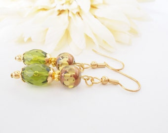 Boho Jewelry Bohemian Earrings, Olive Green Earrings Gold, Beaded Dangle Earrings Leverback Earrings, Fall Wedding Jewelry Clip On Earrings