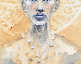 Amazon. Watercolor on paper blue and coffee. Portrait. Original painting.  Art - Handmade in France