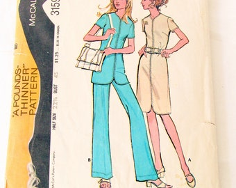 McCall's #3159 Pattern Copyright 1972 Dress, Tunic, & Pants For Unbonded Stretchable Knits Size 22 1/2 Bust 45 Uncut
