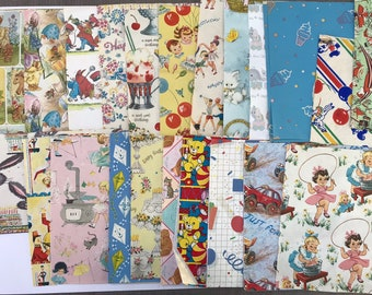 Vintage Wrapping Paper Lot - Large Mixed Lot Juvenile Themed Paper - Destash Lot, Craft Lot, Paper Supply, Scrap Paper - Gift Wrap