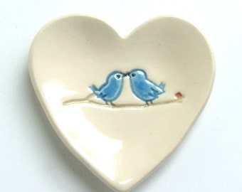 "Valentine, Ceramic Ring Dish/Jewelry Dish, wedding favor, Heart Dish, Hand Built, bridal shower favor, bridesmaid gift , Love Birds, 3"" wide"