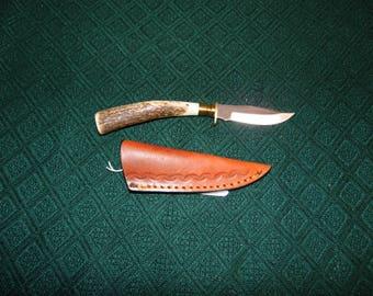 Custom made genuine Deer Antler skinning knife with leather sheath