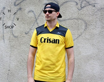 Vintage PUMA Crisan t-shirt / Mens PUMA Tshirt / Puma Soccer jersey #7 / Yellow Oldschool Tee Shirt / Made in West Germany - 70s 80s M L