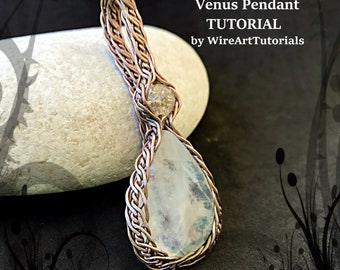TUTORIAL PDF wire wrapped Venus Pendant project pattern,wire wrap weave jewelry,copper,wrapping weaving,weaved, cabochon jewellery, guide