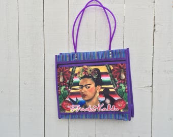 Frida Kahlo with roses and nopal sarape print market tote bag