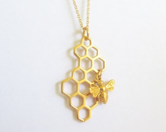 Gold Honeycomb Necklace with Bee Charm - Honeycomb charm - Silver Honeycomb Pendant