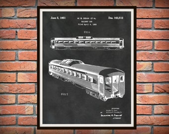 Patent 1950 Locomotive Rail Car - Art Print - Train Rail Car Patent - Wall Art - Railroad Art - Subway Wall Art - Train Station Wall Art