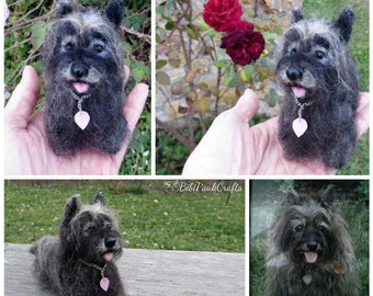 Needle Felted Miniature Dog OOAK Black Cairn Terrier Custom Pet Portrait Special Order By BibiPauk