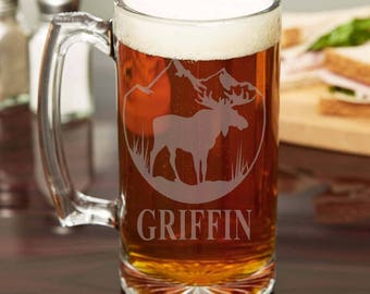 Moose etched Beer Stein - Moose with Mountain backdrop, etched beer stein
