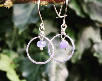 Sterling silver blue sapphire earrings, hoop earrings with blue sapphire gemstones, september birthstone, sterling silver earrings dangle