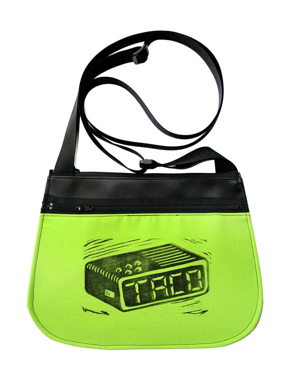 Tacos, taco time, block print, neon green, black vinyl, cross body, vegan leather, zipper top