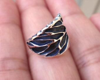 Winter Leaf ear cuffs Sterling Silver earrings Sterling silver ear cuff Black for men & women ear clip Jewelry handmade C-181