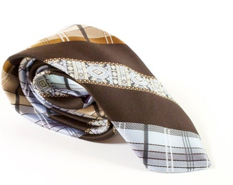 Vintage Necktie Brown and blue skinny Tie: Jean Claude Vidal
