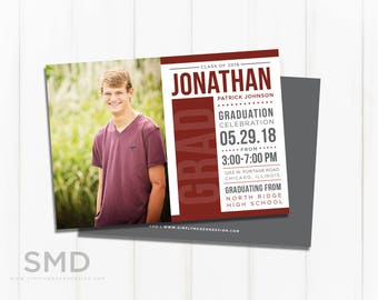graduation announcement, graduation invitation, graduation party, modern, class of 2018, party invitation, PRINTABLE or PRINTED CARDS