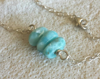 Caribbean Blue Larimar and Sterling Silver Simple Necklace Stack - Sea Breeze - Handmade