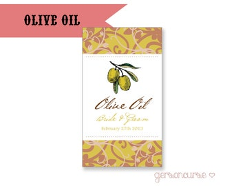 Personalized Olive Oil Favor Label Design - Flavored With Love / DIGITAL FILE