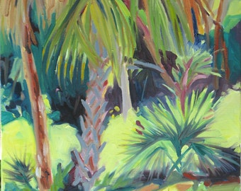 RESERVED FOR Lisa  -Jungle, an original oil painting, 16 x 20 x 3/4 inches on canvas, by Yvonne Wagner