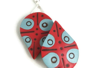 Modern color block design dangle earrings red and blue with brown art jewelry lightweight clay