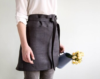 Dark grey Cafe Apron With Pockets - Waitress Apron - Ready to ship